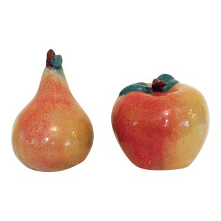 Vintage Clay Pottery Apple and Pear - Pair