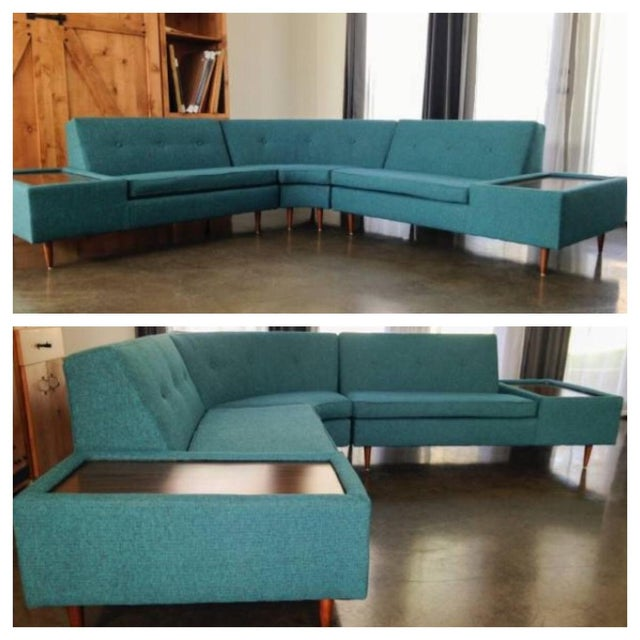 Image of Vintage MCM 3 Piece Turquoise Sectional Sofa