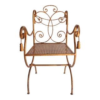 Mid Century Regency Gilded Metal Rope and Tassel Metal chair