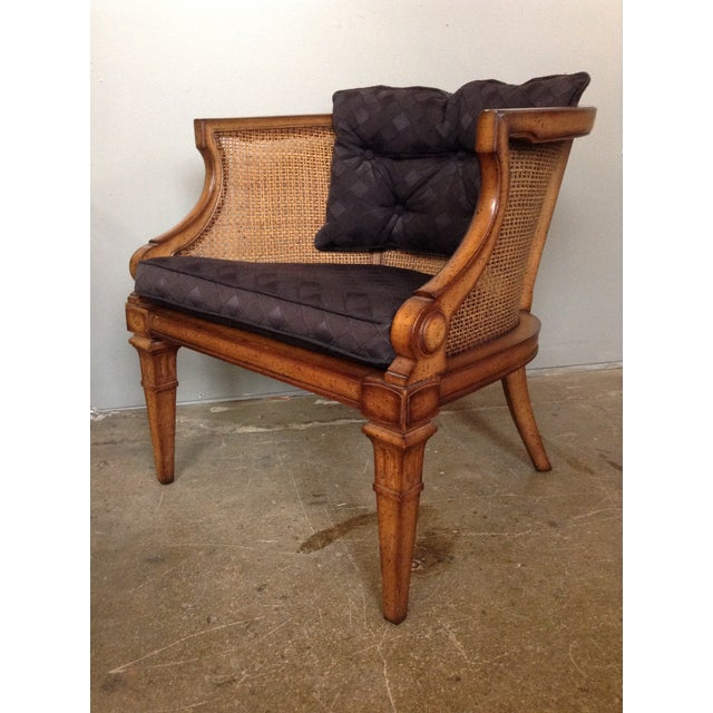 Caned and Upholstered Barrel Back Lounge Chair - Image 3 of 10