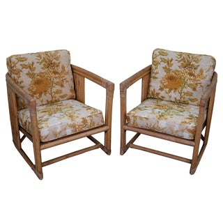 Vintage Bamboo Rattan Club Chairs - A Pair