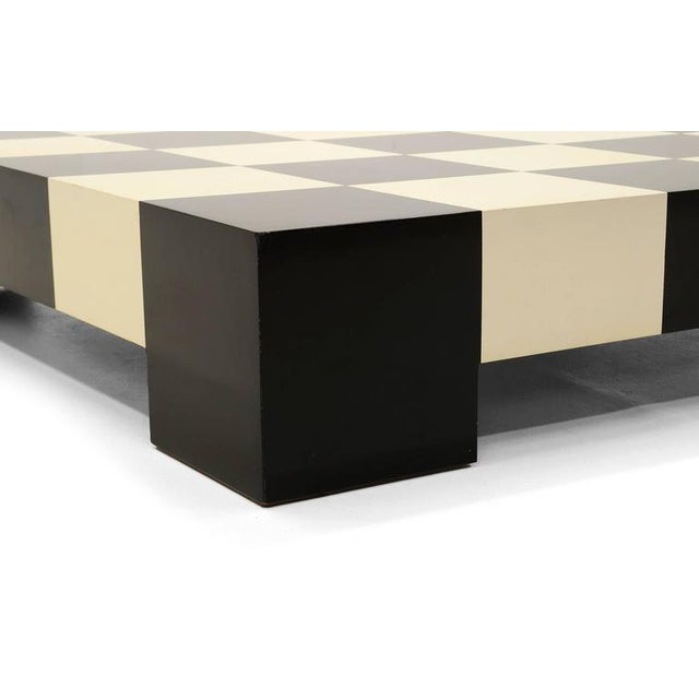 Large Square Black and White Checkerboard Coffee Table by Milo Baughman - Image 5 of 9