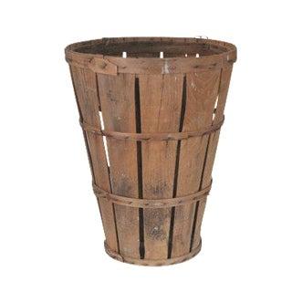 Antique Primitive Tall Round Wood Market Basket