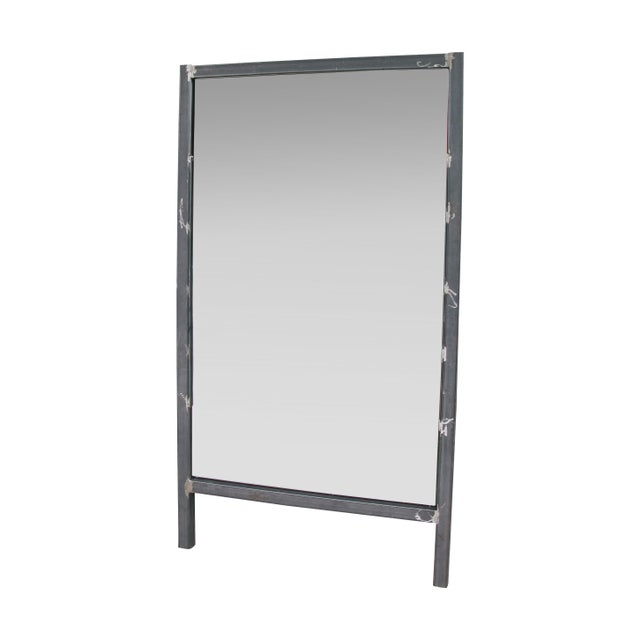 Full height wall leaning steel frame mirror chairish for Leaning wall mirror