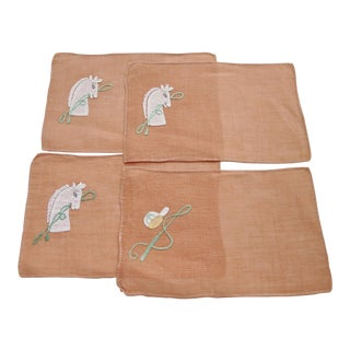 1950s Equestrian Linen Cocktail Napkins - Set of 4