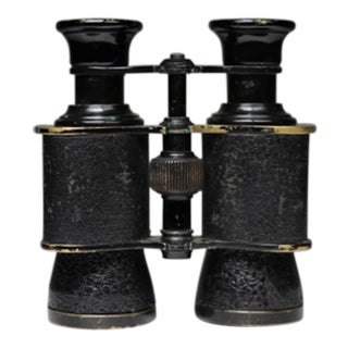 Early 20th c. Prism Paris French Leather Wrapped Brass Binoculars c. 1920-1940