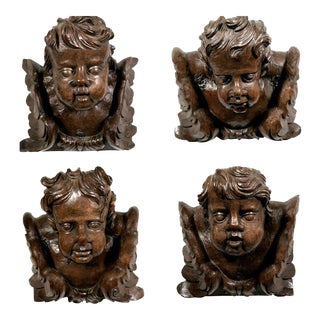 Sensational Set of Four Baroque 18th Century Italian Handcarved Cherubs or Putti