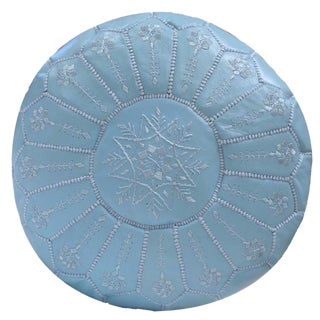 Embroidered Leather Pouf, Baby Blue Starburst Stitch