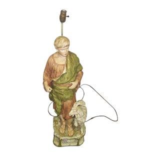 Vintage Shepherd Statue Lamp