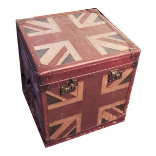 Canvas & Leather-Covered Union Jack Trunk