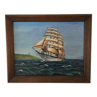 1971 Vintage Nautical Ship At Sea Oil on Canvas Painting