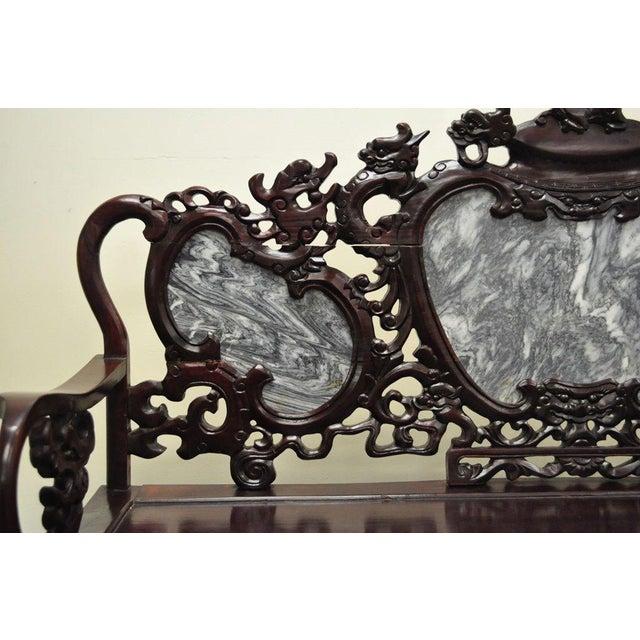 Vintage Chinese Japanese Dragon Carved Mahogany Marble Back Parlor Sofa - Image 5 of 10