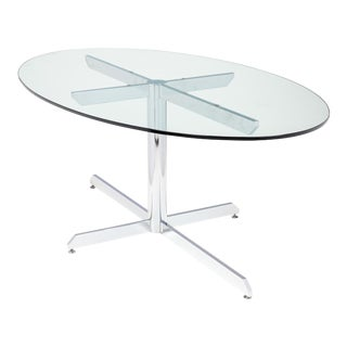 French Modernist Oval Glass and Chrome Knoll Style Dining Table