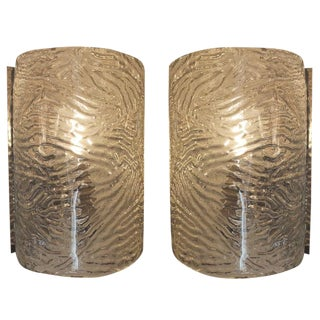 Pair of Large Cylindrical Glass Sconces