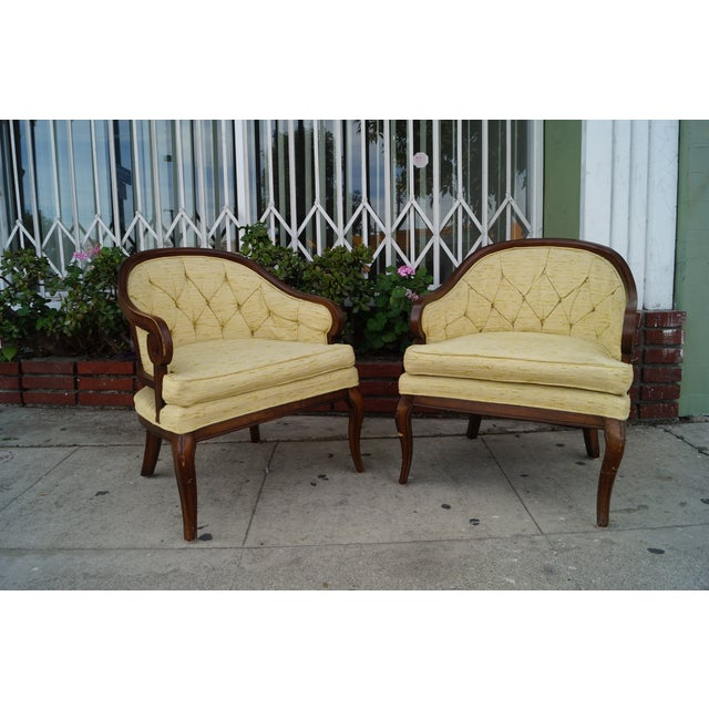 Image of Vintage Yellow Tufted Armchairs - A Pair