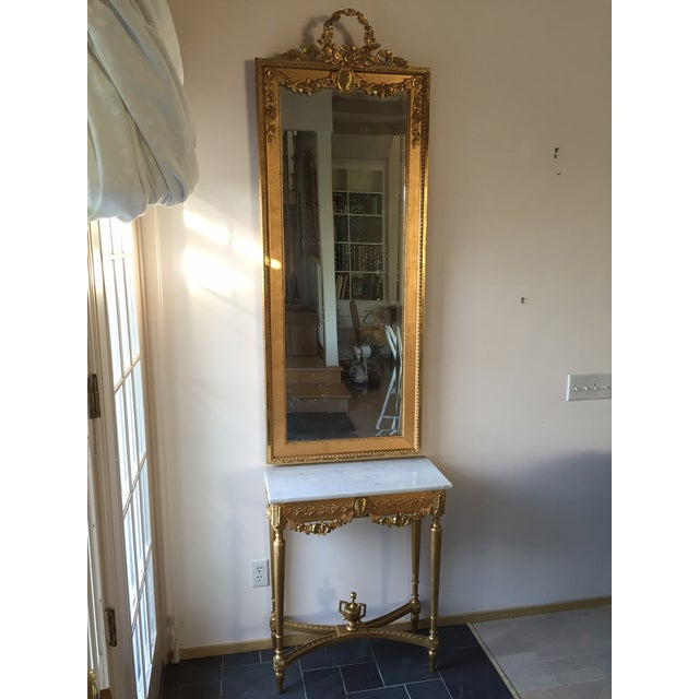 1915 Antique Guilt Wall Mirror & Console Table Set - Image 2 of 11