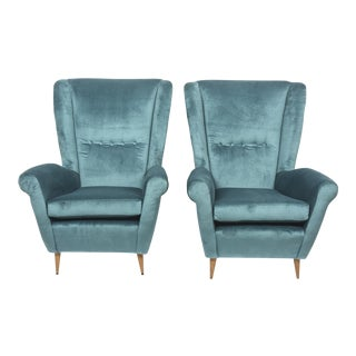 Pair of Gio Ponti Armchairs, Model 512, Italy