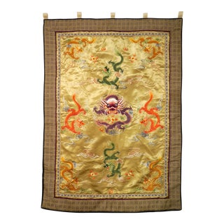Chinese 5 Toed Dragon Embroidered Silk Wall Hanging