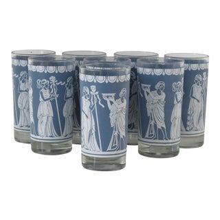 Highball Glasses w/ Grecian Motifs - Set of 8