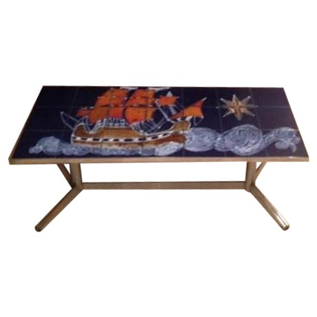 Vintage Belgian Chrome Tiled Coffee Table - Image 1 of 6