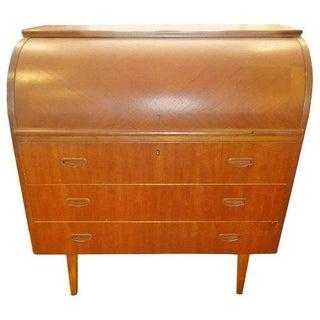 Mid-Century Teak Cylinder Desk Attributed to Egon Ostergaard