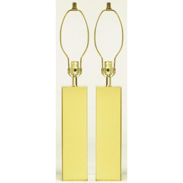 Image of Pair Polished Brass Column Table Lamps
