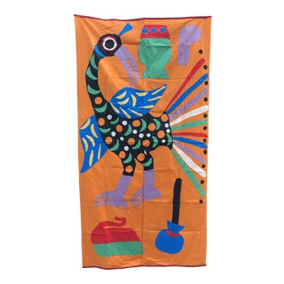 Peacock Textile Wall Hanging Matisse Inspired