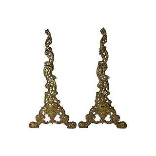 Ornate Brass Andirons - Pair