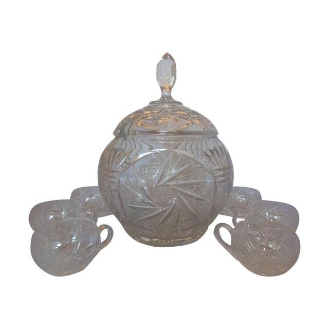 Vintage Crystal Lidded Punch Bowl Set - Set of 7 - Image 1 of 7