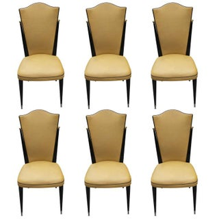 French Art Deco Ebonized Walnut Chairs - Set of 6