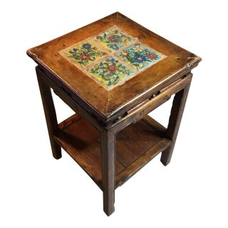 Antique Chinese Wood and Tile Table