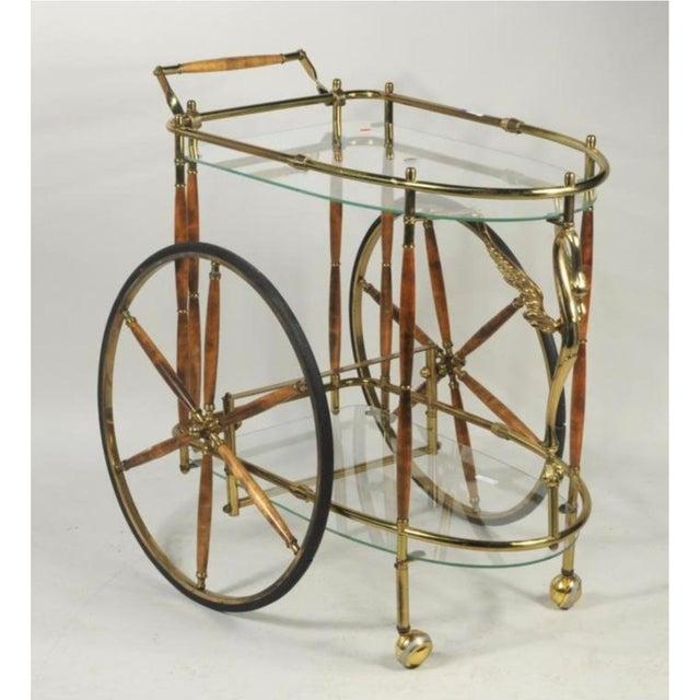Vintage Brass & Glass Drink Cart - Image 4 of 4