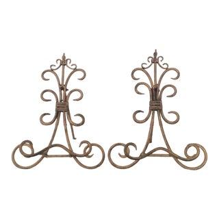 French Fleur De Lis Gilt Plate Stands - Pair