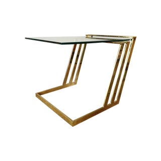 Modern Brass & Glass Cantilevered Table
