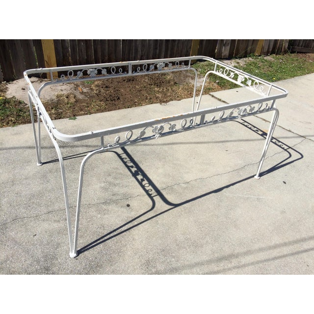 Mid Century Modern Wrought Iron Patio Set With Table And 6