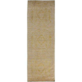 "New Yellow Oushak Hand-Knotted Runner - 3'5"" x 9'10"""