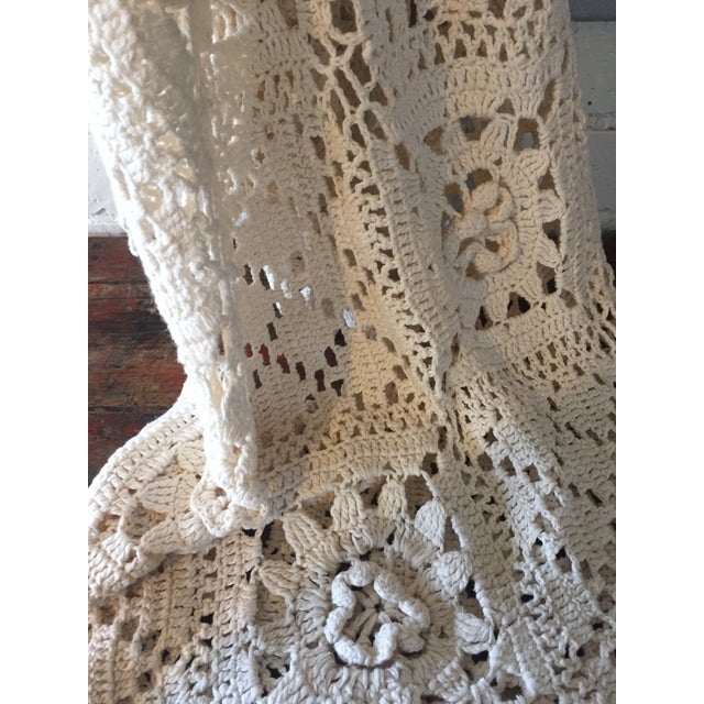 Linen & Cotton Crochet Throw Blanket - Image 6 of 9