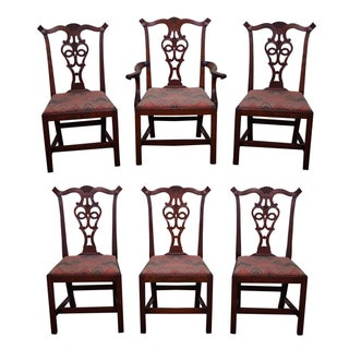 Eldred Wheeler Chippendale Cherry Dining Chairs - Set of 6