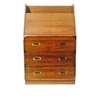 Vintage Campaign Secretary Desk 3 Drawer Chest