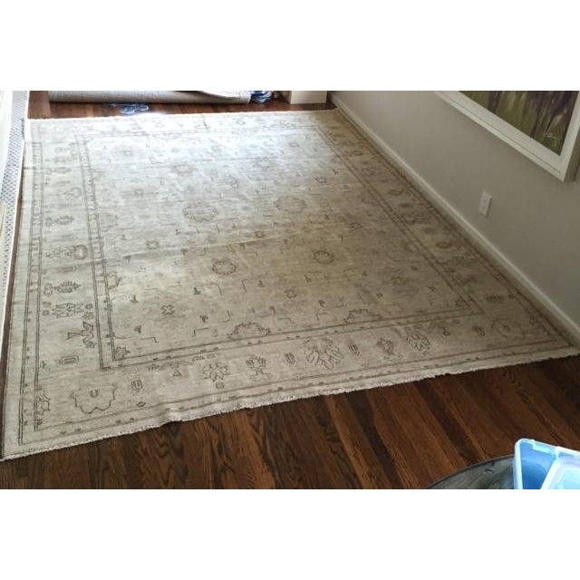Hand Knotted Wool Oriental Neutral Rug - 8′ × 9′4″ - Image 2 of 4