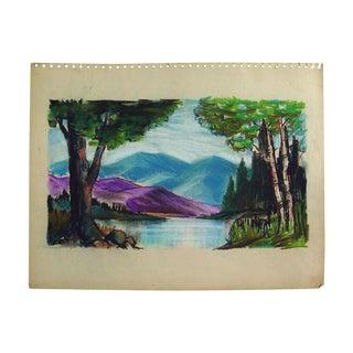 Mountain Lake Pastel Drawing