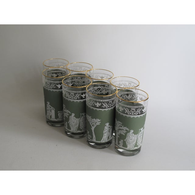 Neoclassical High Ball Glasses & Caddy - Set of 9 - Image 5 of 9