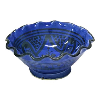 Small Moroccan Hand Painted Blue Bowl