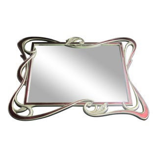 Mirrored Art Nouveau Style Enamel Tray