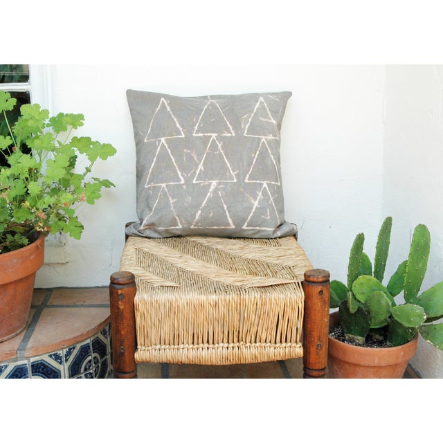 Hand Dyed Grey Geometric Pillow Cover - Image 3 of 7