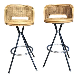 Rattan Bar Stools - A Pair