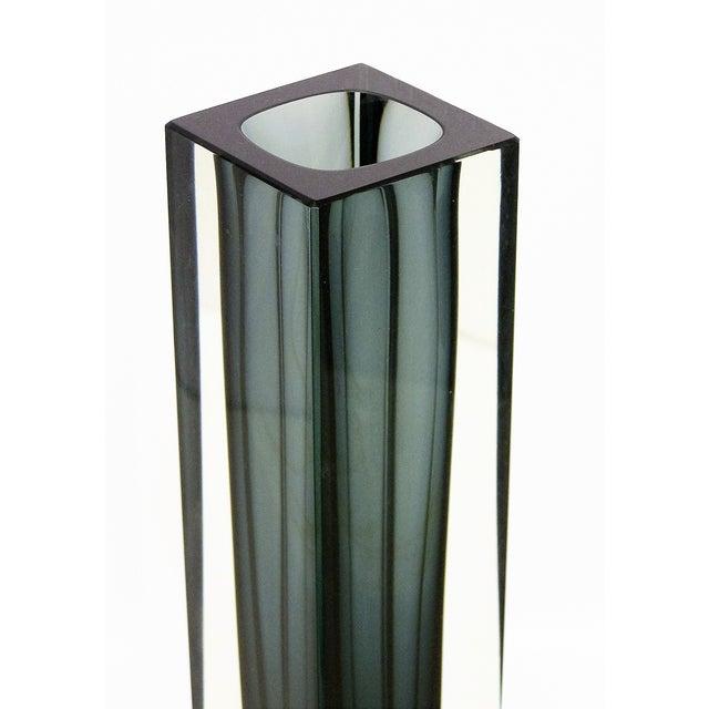 Italian Mandruzzato Murano Mid-Century Modern Gray Glass Vase MCM - Image 9 of 11