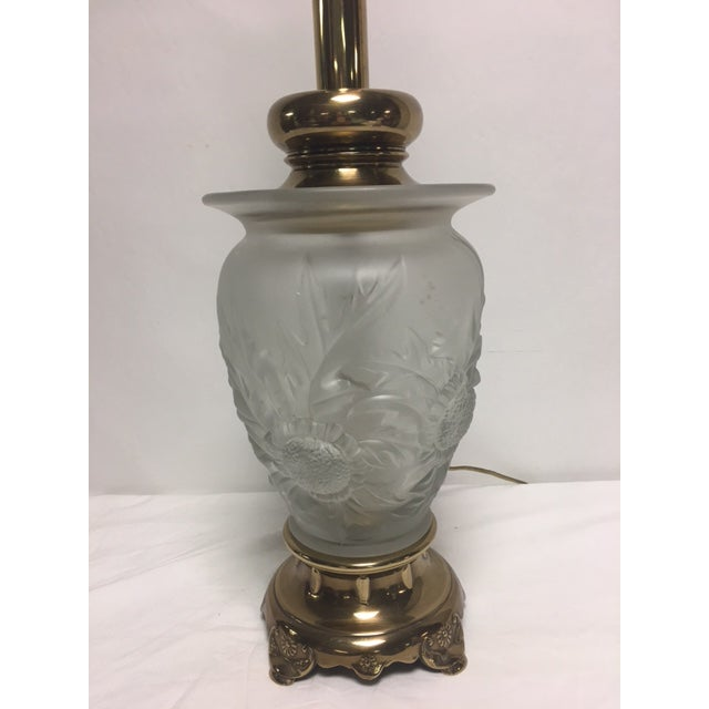 Rembrandt Frosted Glass Floral Table Lamp - Image 3 of 9