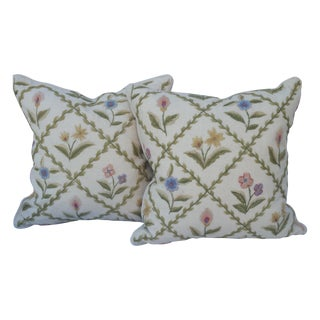 Hand Embroidered Botanical Pillows - Pair