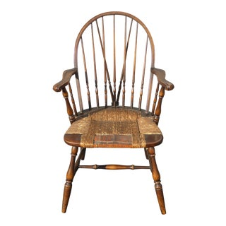 B&S Co. Solid Wood Rush Seat Rustic Windsor Arm Chair